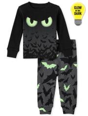 Unisex Baby And Toddler Glow Bats Snug Fit Cotton Pajamas
