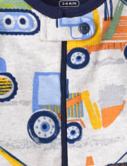 Baby And Toddler Boys Construction Snug Fit Cotton One Piece Pajamas