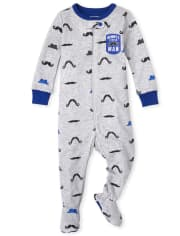 Baby And Toddler Boys Mustache Snug Fit Cotton One Piece Pajamas