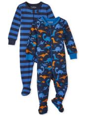 Baby And Toddler Boys Dino Snug Fit Cotton One Piece Pajamas 2-Pack