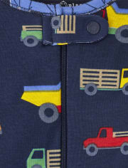 Baby And Toddler Boys Trucks Snug Fit Cotton One Piece Pajamas 2-Pack
