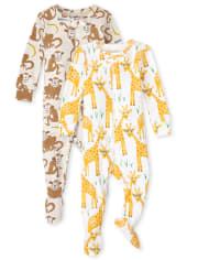 Unisex Baby And Toddler Monkey Giraffe Snug Fit Cotton One Piece Pajamas 2-Pack