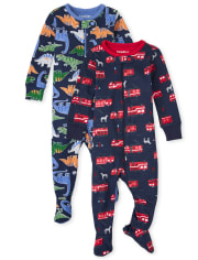 Baby And Toddler Boys Dino Fire Truck Snug Fit Cotton One Piece Pajamas 2-Pack