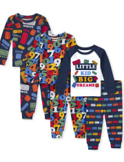 Unisex Baby And Toddler Education Snug Fit Cotton 6-Piece Pajamas