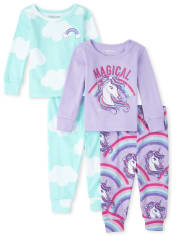 Baby And Toddler Girls Unicorn Cloud Snug Fit Cotton Pajamas 2-Pack