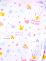 Baby And Toddler Girls Princess Snug Fit Cotton Pajamas 2-Pack
