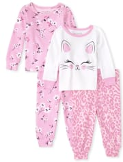 Baby And Toddler Girls Cat Floral Snug Fit Cotton Pajamas 2-Pack