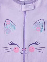 Baby And Toddler Girls Floral Cat Snug Fit Cotton One Piece Pajamas 2-Pack