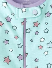 Baby And Toddler Girls Animal Stars Snug Fit Cotton One Piece Pajamas 2-Pack