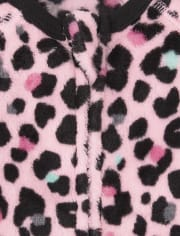 Baby And Toddler Girls Mommy And Me Leopard Fleece One Piece Pajamas