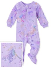 Baby And Toddler Girls Mommy And Me Unicorn Fleece One Piece Pajamas