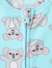 Baby And Toddler Girls Llama Koala Fleece One Piece Pajamas 2-Pack