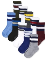 Toddler Boys Striped Cushioned Crew Socks 10-Pack