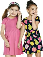 Paquete de 2 vestidos de patinadora con frutas para niñas pequeñas