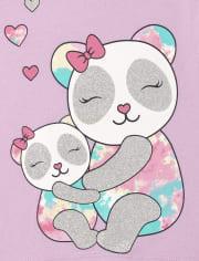 Pack de 2 camisetas con estampado de panda y mariposa para niñas pequeñas