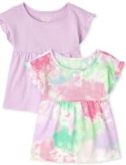 Toddler Girls Tie Dye Tunic Top 2-Pack
