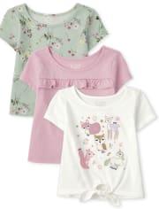 Pack de 3 blusas con estampado floral de animales para niñas pequeñas