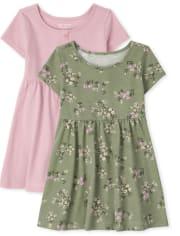 Toddler Girls Floral Babydoll Dress 2-Pack