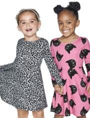 Toddler Girls Leopard Cat Skater Dress 2-Pack