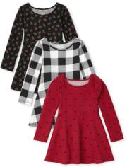 Toddler Girls Print Skater Dress 3-Pack