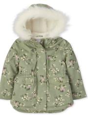 Toddler Girls Floral Parka Jacket