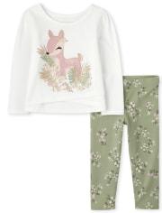 Toddler Girls Floral Deer 2-Piece Set