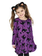 Deals on The Childrens Place Baby And Toddler Halloween Cat Skater Dress