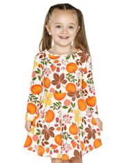 Baby And Toddler Girls Pumpkin Skater Dress