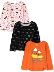 Deals on 3-Pack The Childrens Place Toddler Girls Halloween Tops