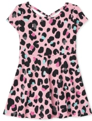 Baby And Toddler Girls Leopard Cut Out Skater Dress