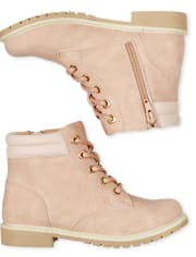Girls Heart Eyelet Lace Up Booties