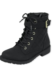 Girls Quilted Lace Up Booties