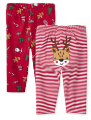 Unisex Baby Christmas Pants 2-Pack