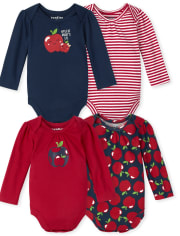 Baby Girls Apple Bodysuit 4-Pack