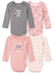 Baby Girls Panda Bodysuit 4-Pack