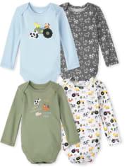 Baby Boys Farm Animals Bodysuit 4-Pack
