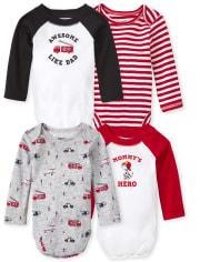 Baby Boys Fire Truck Bodysuit 4-Pack