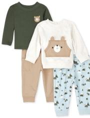 Baby Boys Bear 4-Piece Playwear Set