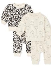 Baby Girls Leopard Heart 4-Piece Playwear Set