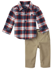 Baby Boys Dad And Me Plaid Flannel 2-Piece Set