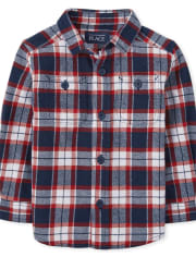 Baby And Toddler Boys Matching Family Plaid Flannel Button Down Shirt