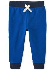Baby And Toddler Boys Side Stripe Fleece Jogger Pants