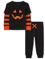 The Childrens Place Toddler Boys Halloween Pumpkin 2-Piece Set Deals
