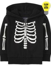 Unisex Baby And Toddler Glow Skeleton Zip Up Hoodie
