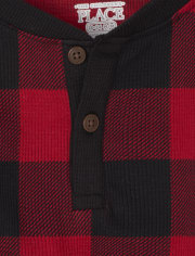 Baby And Toddler Boys Buffalo Plaid Thermal Henley Top
