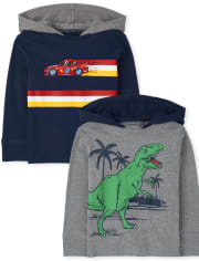 Baby And Toddler Boys Dino Car Hoodie Top 2-Pack