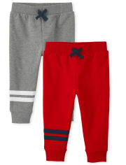 Baby And Toddler Boys Striped Fleece Jogger Pants 2-Pack