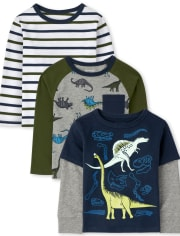 Baby And Toddler Boys Dino Top 3-Pack