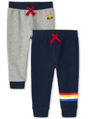 Baby And Toddler Boys Construction Striped Fleece Jogger Pants 2-Pack