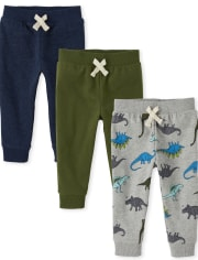 Baby And Toddler Boys Dino Fleece Jogger Pants 3-Pack